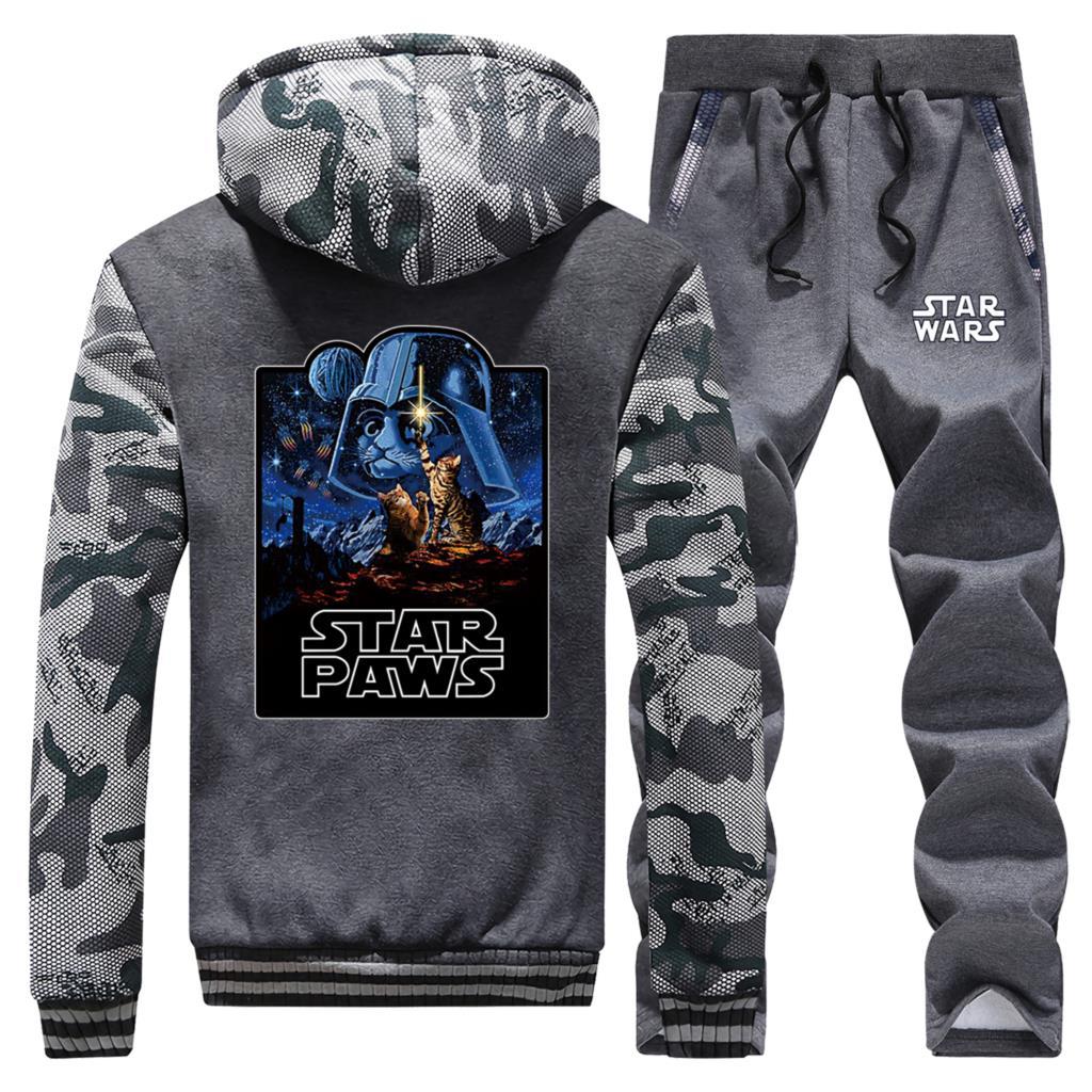 Star Wars Fashion Men Winter Hoodies Sweatshirts Hip Hop Male Coat Zipper Jacket+Pant 2pcs Sets Mens Warm Suit Casual Tracksuit