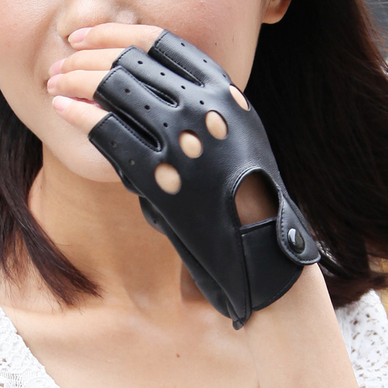 1 Pair Women's Fashion Half Finger Gloves PU Leather Hollow Black Hand Mittens Female Wrist Driving Gloves Guantes Mujer 2019