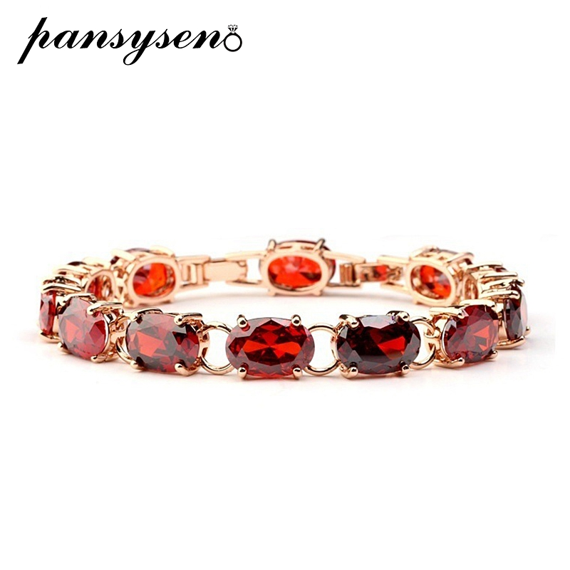Luxury Ruby Rose Gold Bracelet 925 Silver