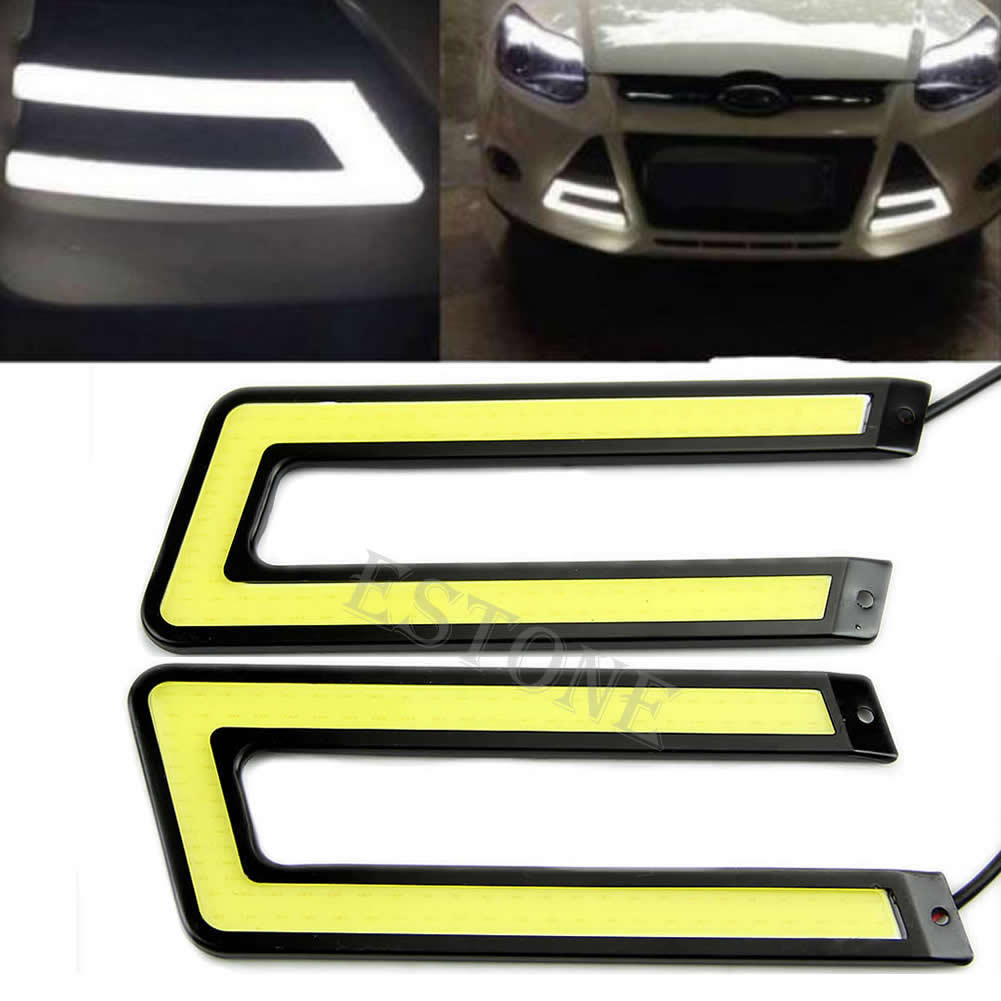 2pcs White COB 6000K Led Daytime Running Light DRL Headlight Fog Lamp U Shape 40JE