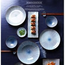 1 шт. синий белый годовое кольцо обеденная тарелка керамическая кухонная посуда рисовый салат лапша миска для супа подставка для кухни набор