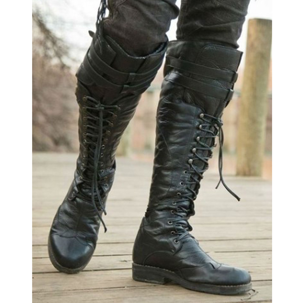 2019 Men Lace Up Leather Motorcycle Boots Men Winter Warm Knee Length Pirate Boots Solid Black Punk Round Toe Male Booties D20