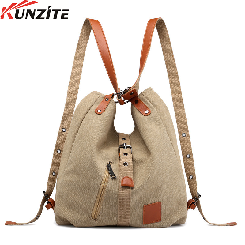 Kunzite Women Back Pack For Students School Travel Bags Large CapacityCanvas Women Shoulder Bags High Quality Multifunction
