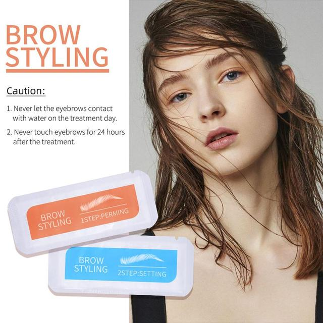 2Pcs Keratin Brow Lamination Kit Brows Lift Perming Kit Long Lasting Eyebrow Lifting Makeup Set Eyebrow Dye Setting Gel 1