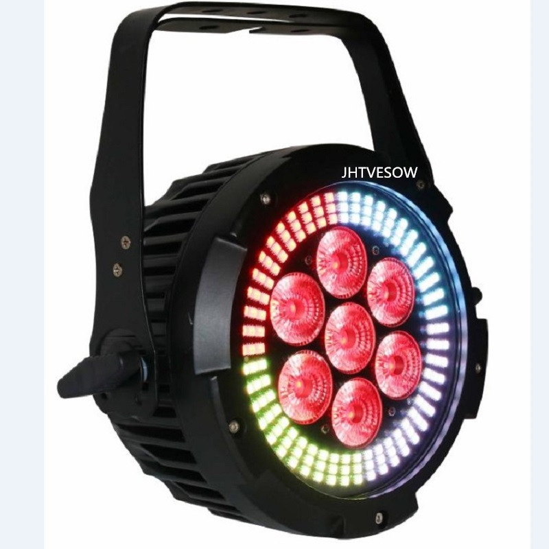 Free shipping new par light indoor dmx par can lighting 7*12w rgbwa+uv 6in1 IP33 wedding par light 64 led stage par 64 - 2