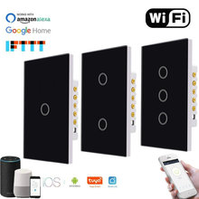 US Wifi Smart Light Switch Glass Touch Panel Voice Remote Control Wireless Wall Lamp Switches for Alexa Google Home 1/2/3 Gang cnskou smart wifi wireless touch screen switch 1 2 3 gang 1 way home wifi touch remote smart switch 220v 230v for google home