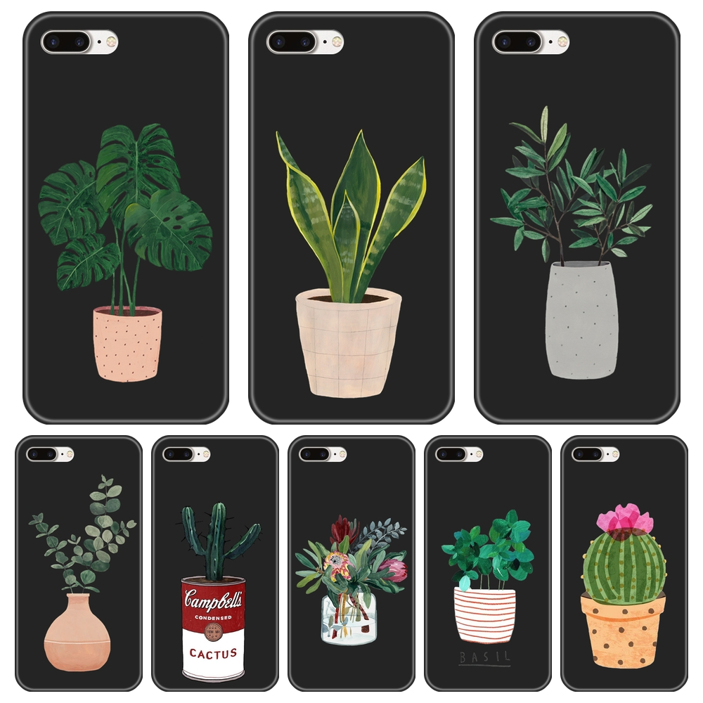 For Apple <font><b>iPhone</b></font> X XR XS MAX 8 <font><b>7</b></font> 6S 6 S <font><b>Case</b></font> Silicone Potted Flower Pattern Back Cover For <font><b>iPhone</b></font> 8 <font><b>7</b></font> 6S 6 S <font><b>Plus</b></font> <font><b>Phone</b></font> <font><b>Case</b></font> image