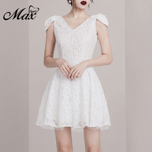 Max Spri Women Vintage Sexy V-neck High Waist Lace A-Line Fashion Mini Dress 2019 New Fashion Party Vestidos White lace insert high neck a line mini dress