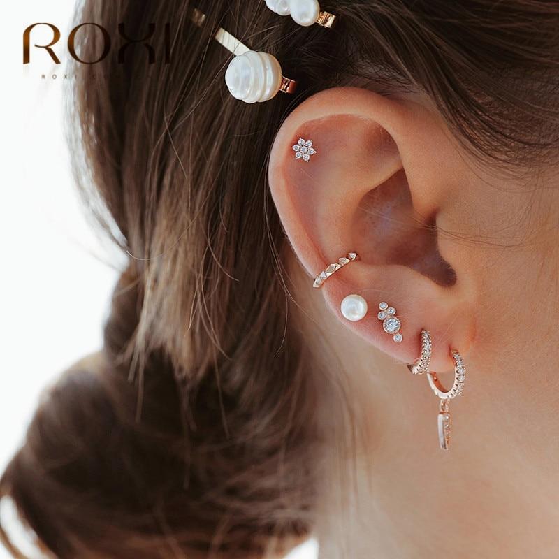 ROXI Korean Jewellery Simple Geometric Earring 925 Sterling Silver CZ Triangle Pendant Stud Earrings For Women Huggie Jewelry
