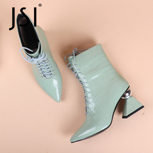 Heel Lace-Up Green SOPHITINA Pointed-Toe High-Strange Winter Genuine-Leather Woman Checkered