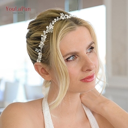 YouLaPan HP347 New Trendy Headband Silver Rhinestone Tiara Floral Bride Headpiece Wedding Hair Accessories Princess Headdress