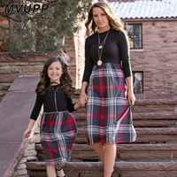 plaid mother daughter dresses for mommy and me matching clothes family look outfits mom girl dress vintage long winter mama mom