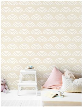 LUCKYYJ Scallop Peel and Stick Wallpaper Beige White Vinyl Self Adhesive Contact Paper Nursery Removable Decorative Wall Sticker bohemian geometric vinyl decorative wall sticker