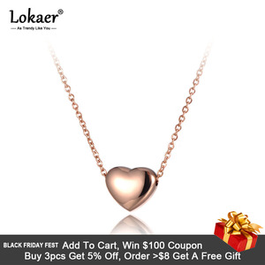 Lokaer Romantic Heart Pendants Chokers Necklaces Rose Gold Color 316L Stainless Steel Women Necklace Jewelry N19086