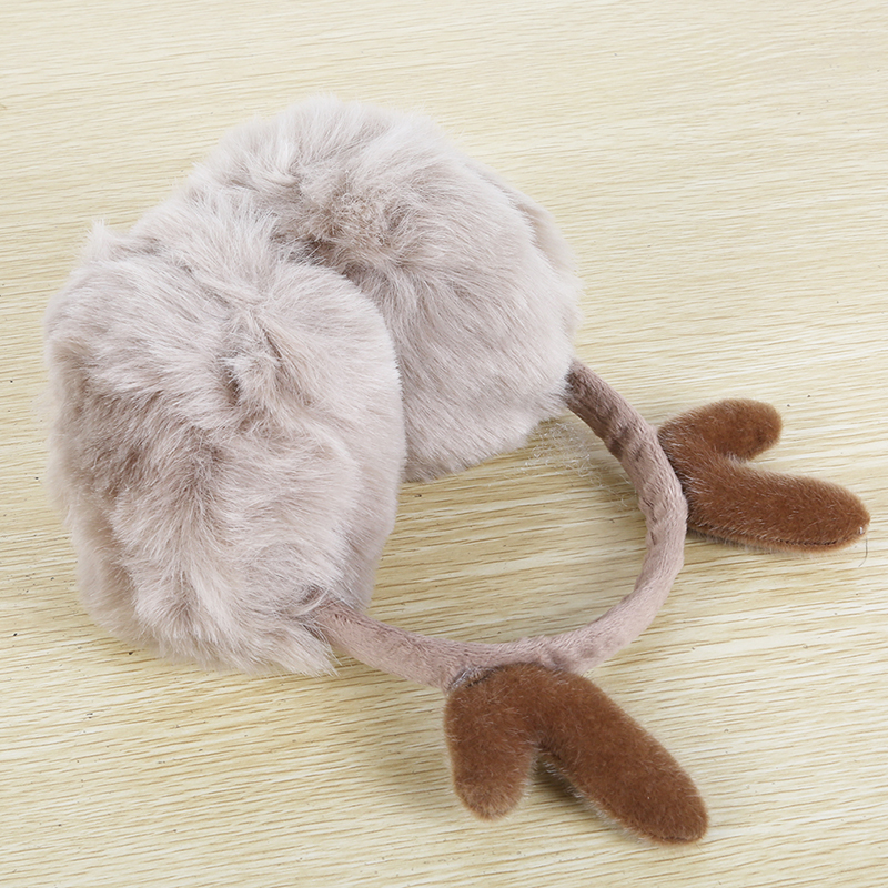 GAOKE Novelty Cute Antlers Fur Winter Earmuffs Women Warm Earmuffs Ear Warmer Gift For Girl Cover Ears Super Soft Plush Ear Muff