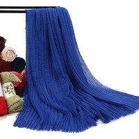 65*175cm New Designs Cotton Scarf Beads Bubble Pearl Wrinkle Shawls Hijab Drape Stitching Fringe Crumple Muslim Scarves/Scarf