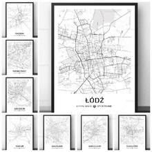 Mapa personalizado mapa da cidade de polónia mapa preto e branco impressão pintura lodz radom varsóvia wroclaw mapa para sala de estar decoração casa