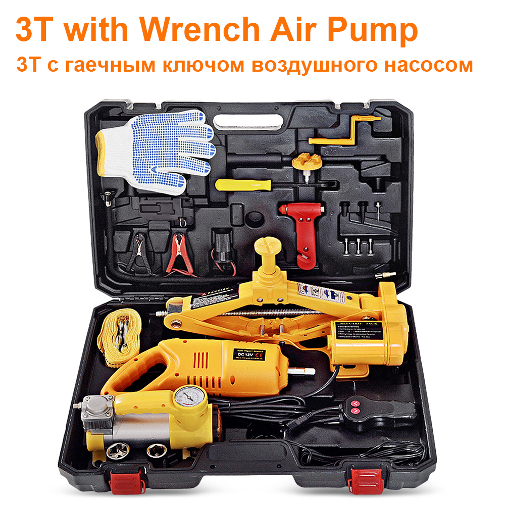 3T 2T Car Electric Jack With Inflatable Pump Wrench Repair Tools Kit For Tire Inflation Auto Maintenance 100W Car Jacks Lifting