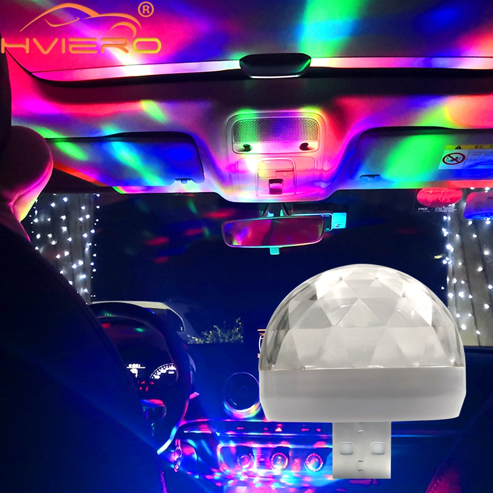 Car Led Auto Lamp USB Ambient Light DJ RGB Mini Colorful Music Sound Light USB-C Interface Apple Interface Holiday Party Karaoke