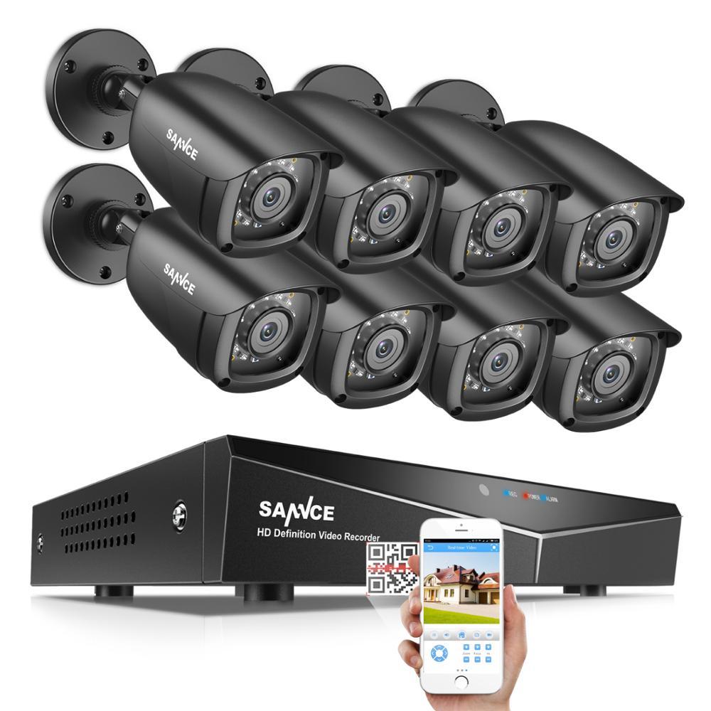 Sannce 8ch dvr 1080 p sistema de cctv gravador vídeo 4/8 pçs 2mp segurança em casa à prova dwaterproof água visão noturna câmera kits vigilância