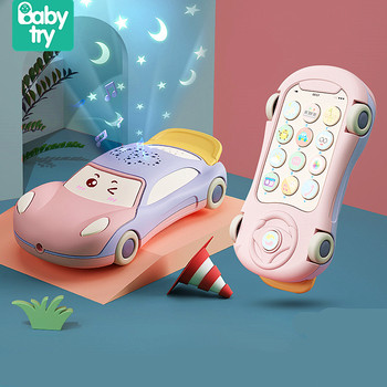 Baby Montessori Phone Toys for Girl Boy Gifts 0 12 Months Telephone Toys Juguetes Bebe with Luminous Projector Learning Toy Car