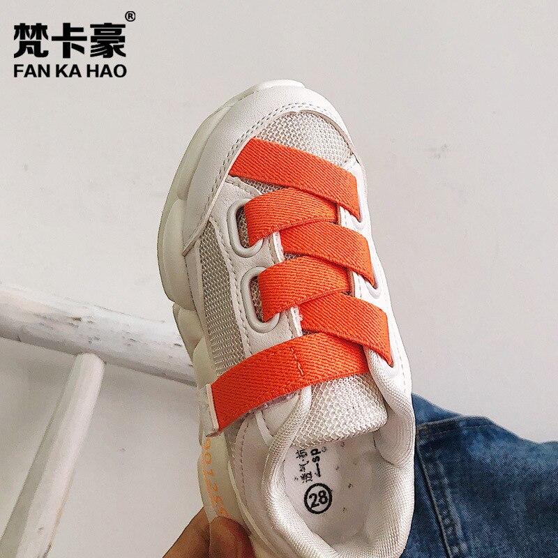 Ev ve Bahçe'ten Ayakkabı Rafları ve Organizatörleri'de Children Sports Shoes 2019 Autumn New Style Men And Women Children Casual Anti slip Sneakers Fluorescence Color Velcro Shoes Whi title=