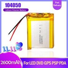 Bateria recarregável de li-polímero 2600 v 3.7, 104050 mah mp3 mp4 alto-falante projetor umidificador energia solar lâmpada carregador bateria li po,