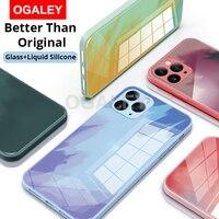 Funda para iPhone 12 Pro Max, carcasa de vidrio templado, silicona líquida suave, 360 °, protección completa