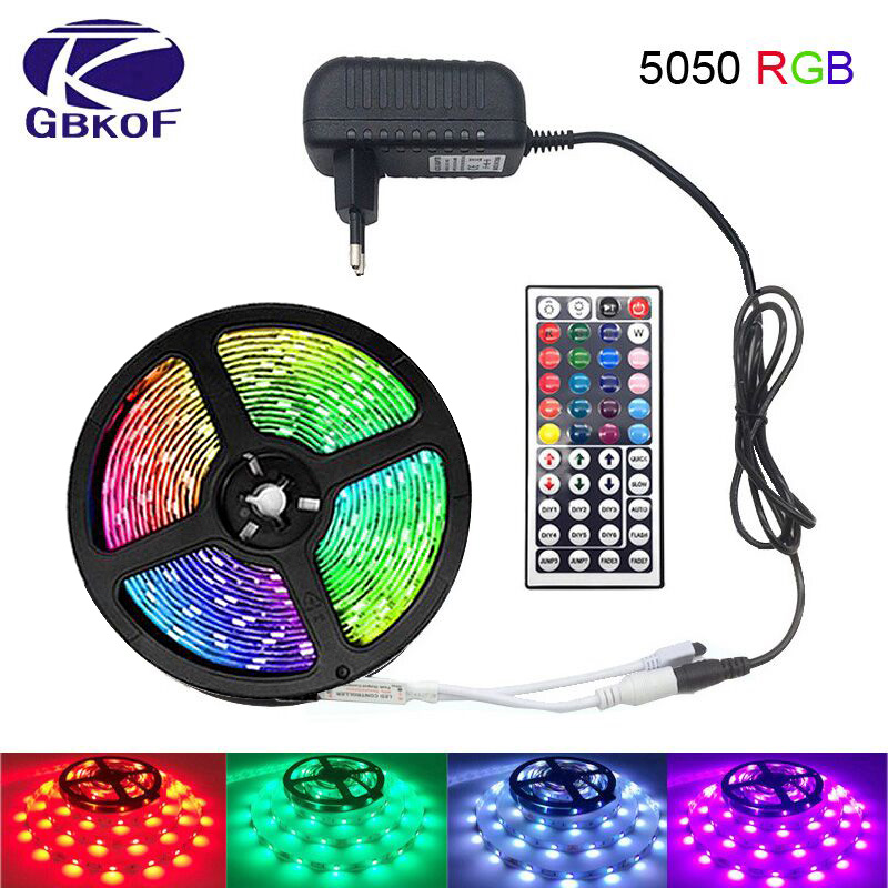 5M 10M 15M 5050 Led Strip DC12V RGB Flexible Tape Led Ribbon Led Strip Light With IR Remote For Home Kitchen Christmas Party Dec