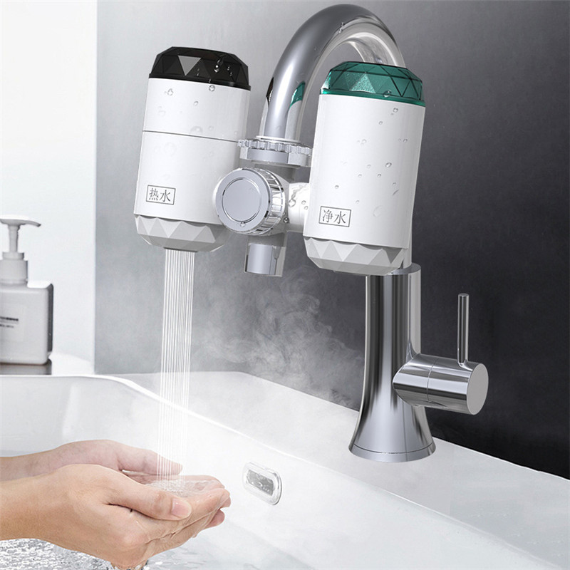 3000W 220V Electric Instant Heating Faucets LED Temperature Display Kitchen Hot & Cold Water Heater Water Purifier EU Plug