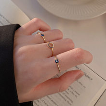 S925 Sterling Silver Rings For Women Opening Adjustable Zircon Gold Blue Female New Design Fashion Wedding Party Jewelry INEFFA