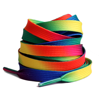 New 2Pair Rainbow shoelaces Gradient Print Flat Canvas Shoe shoelace child women men Casual Colorful Shoelaces Shoe Accessories darseel shoe accessories shoelaces tax