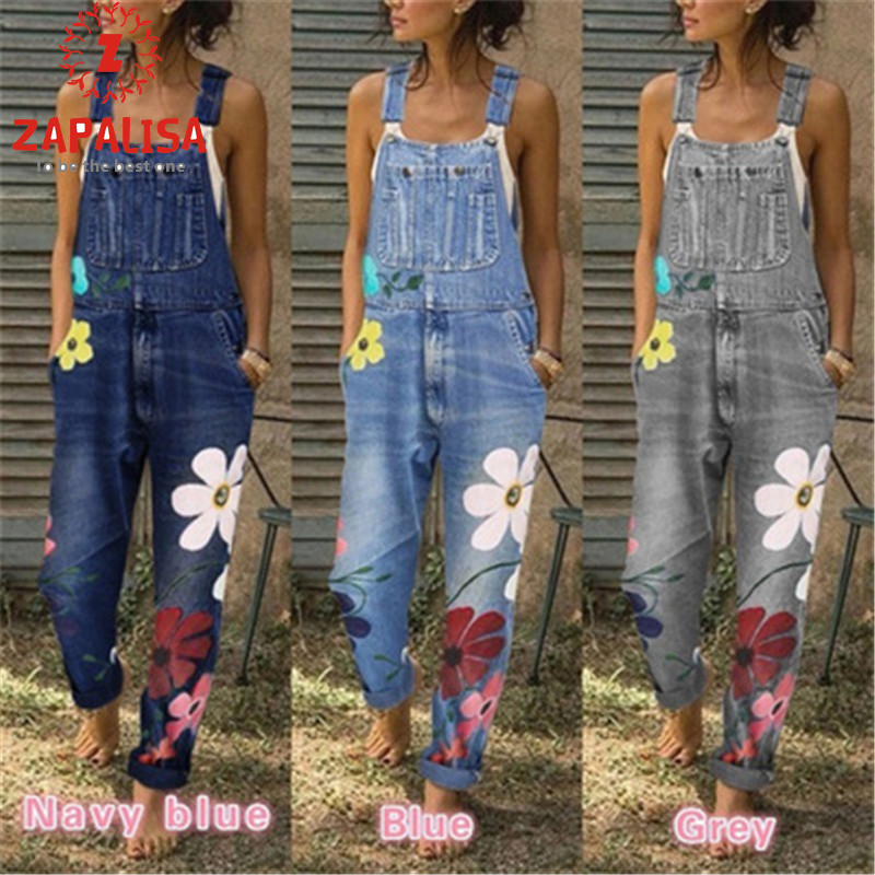 Fashion Women Summer Autumn Casual Loose Jumpsuits Patchwork Design Pockets Decor Sling Sleeveless Flower Print Denim Overalls