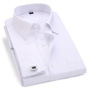 Męskie francuskie spinki do mankietów koszula 2020 nowa męska koszula w paski z długim rękawem Casual męskie markowe koszulki Slim Fit francuski mankiet ubranie koszule