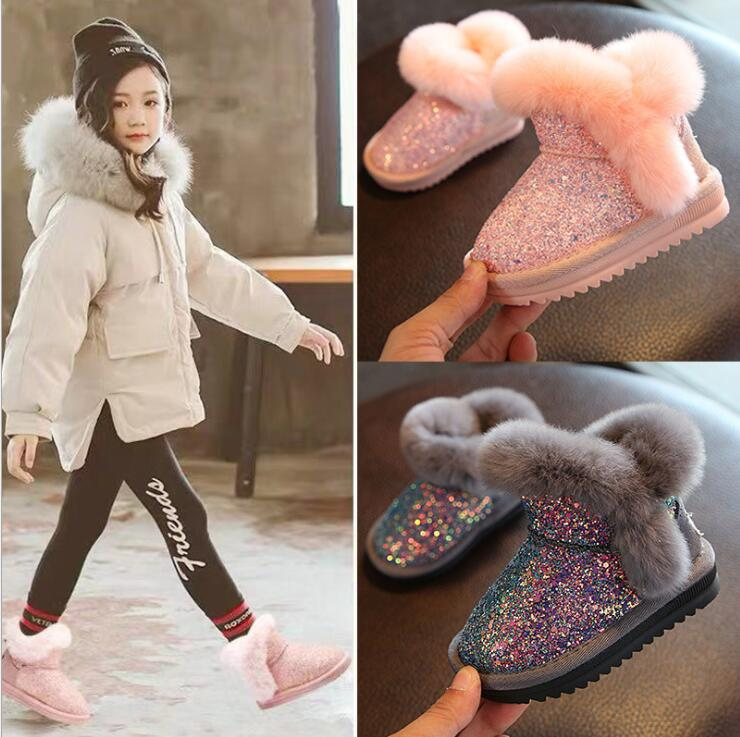 2020 children's snow boots girls rabbit fur martin boots baby cotton sport shoes sequins genuine leather princess boots