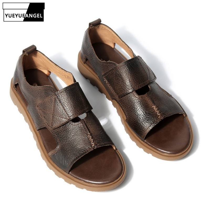 Summer Mens Sandals 2019 New Fashion Korean Genuine Leather Open Toe Gladiator Sandals Casual Beach Sandals Flats Breathable Man