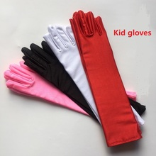 10 pair/ Lot Kid child flower girl long student gloves White black red unisex finger glove free shipping wholesale