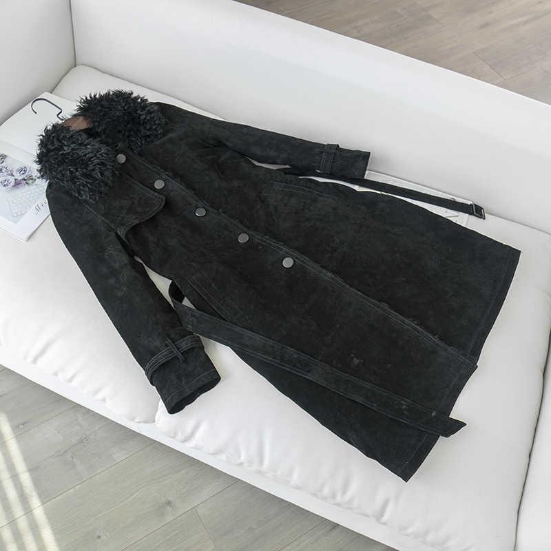 2019 зимнее пальто для женщин, большие размеры, натуральное меховое пальто с овечьей шерстью и натуральной свиной кожей, кожаная куртка, длинная парка, натуральный мех