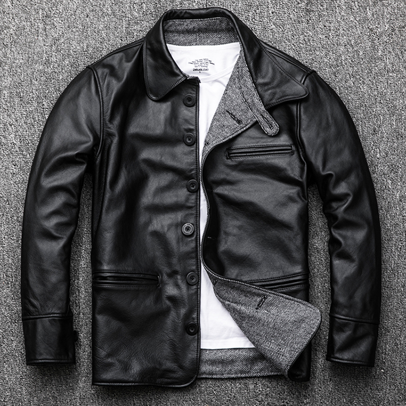 Genuine Leather Jacket Men Autumn Cowhide Coat Short Slim Men's Cow Leather Jackets 2020 Chaqueta Cuero Hombre KJ1126