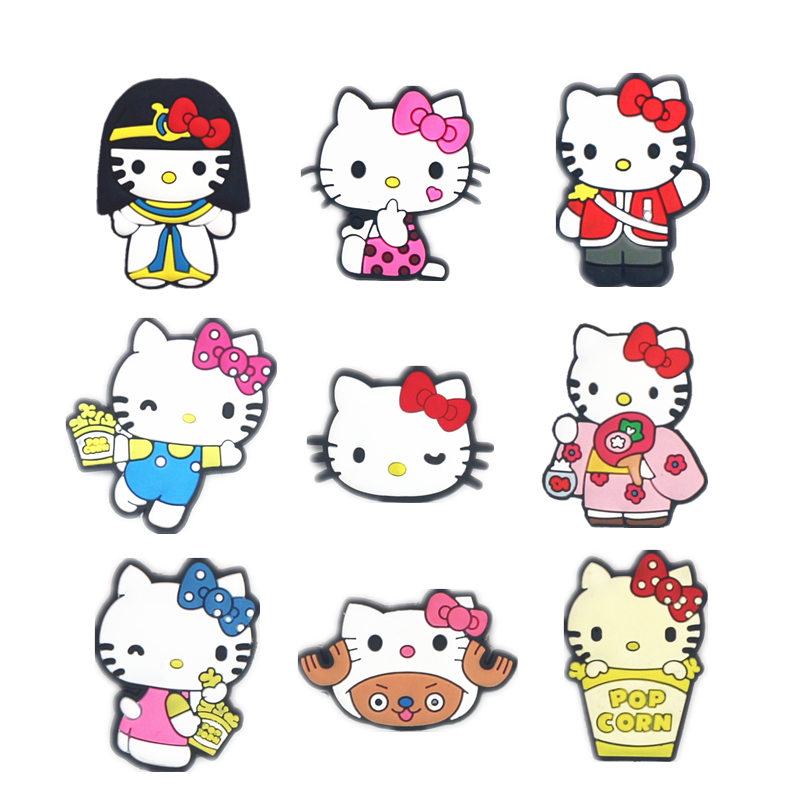 Novelty 9Pcs/Lot PVC Cartoon Shoe Decorations Lovely Cats Charms Accessories Buckles Fit Bands Bracelets Croc JIBZ Kids Gifts