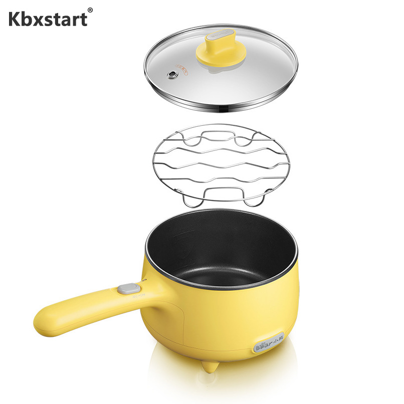 Mbxstart Electric Cooker 1.2L Stainless Steel Multicooker Non-stick Coating Rice Cooker Frying Pan Frying Pan Adjustment 2 Gear