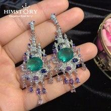 Himstory Vintage Gradient Green Teardrop CZ micro-inlaid AAA zircon Drop Dangle Earrings Women Wedding Party Gift JEwelry