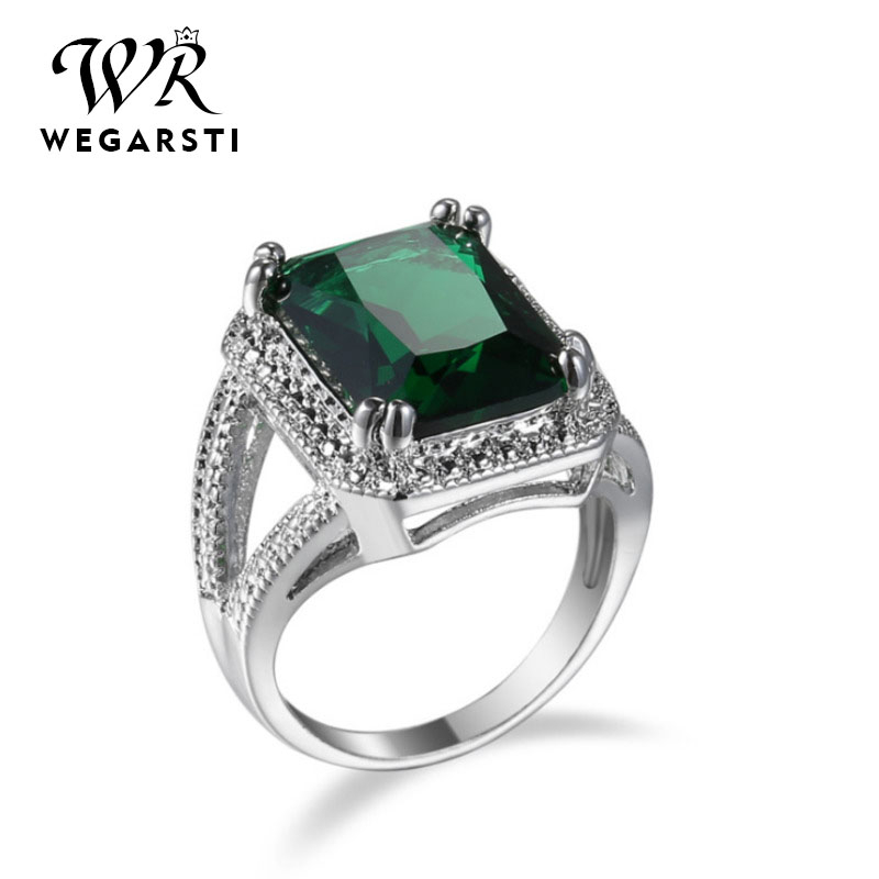 WEGARSTI New Big Promotion 925 Sterling Silver Square Gemstones Finger Rings For Women Sparkling CZ Wedding Engagement Jewelry