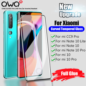 Screen Protection Tempered Glass For Xiaomi mi 10 Pro Full Glue Curved Glass For Xiaomi mi Note 10 Lite CC9 Pro Protective Film 1