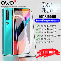 Screen Protection Tempered Glass For Xiaomi mi 10 Pro Full Glue Curved Glass For Xiaomi mi Note 10 Lite CC9 Pro Protective Film