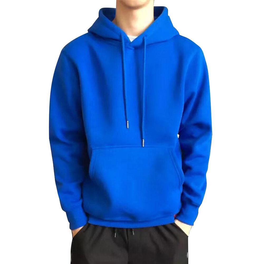 ZACOO Men Kangaroo Pocket Plain-Colour Sweaters Hoodies For Winter Sports Casual