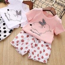 Комплект одежды для маленьких девочек футболка с мультяшным