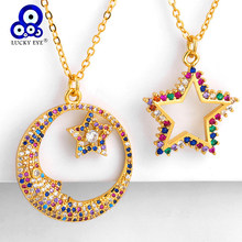 Lucky Eye Micro Pave Moon Star Pendant Necklace Gold Color Chain Colorful Zircon Necklace Jewelry Gifts for Women Female LE275(China)