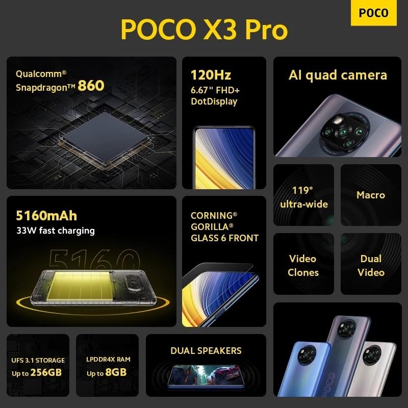 "Global Version POCO X3 Pro 128GB / 256GB Snapdragon 860 Smartphone  NFC 6.67"" 120Hz DotDisplay 5160mAh 33W Charge Quad AI Camera 5"