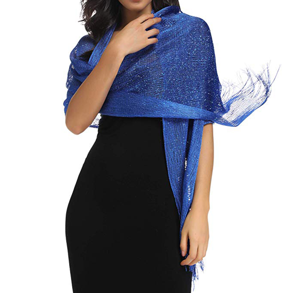 Women For Evening Dresses With Tassels Cover-up Accessory Wedding Wraps Gift Metallic Shawls Lightweight Sparkling Scarf Mesh